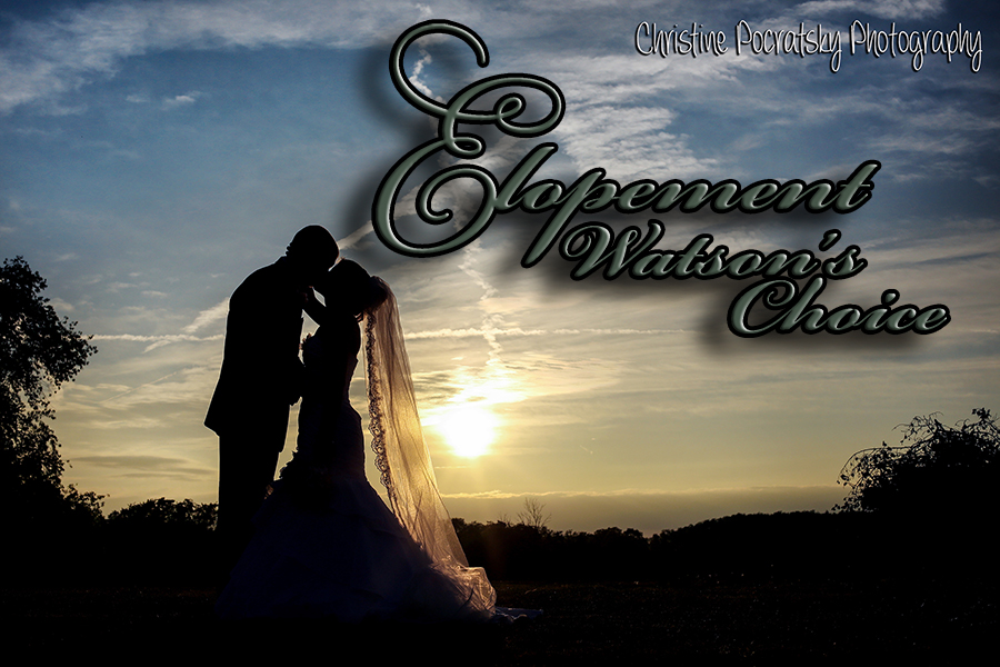 Photo of sunset and Bride and Groom with the title Elopement at Watson's Choice.