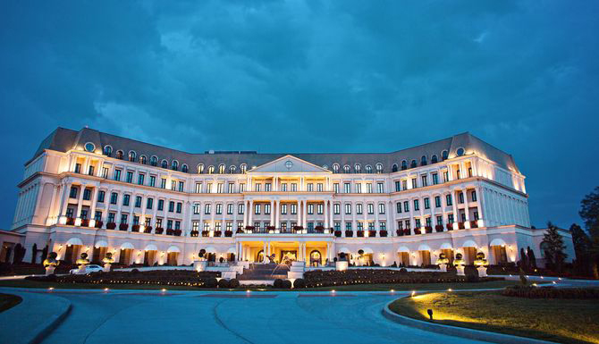 Photo of Nemacolin woodlands at night.