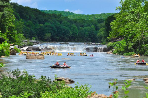 Photo of rafters floating down Ohiopyle.