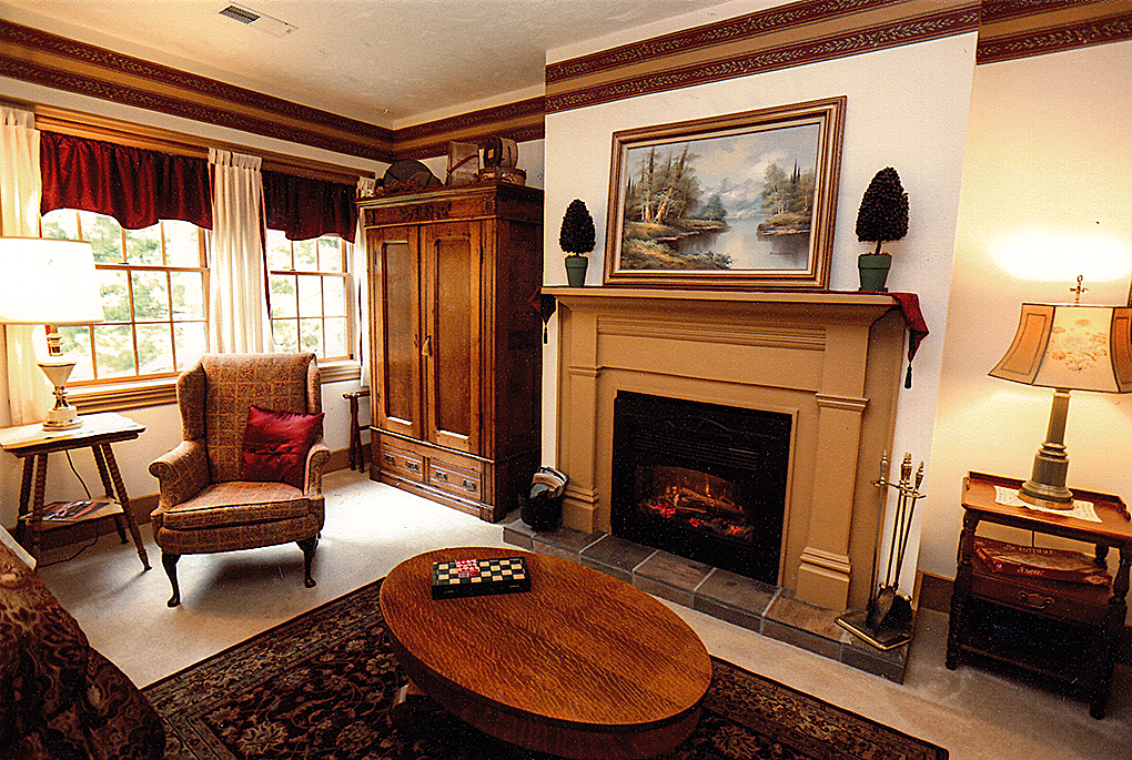 Laurel King suite an image of the fireplace.