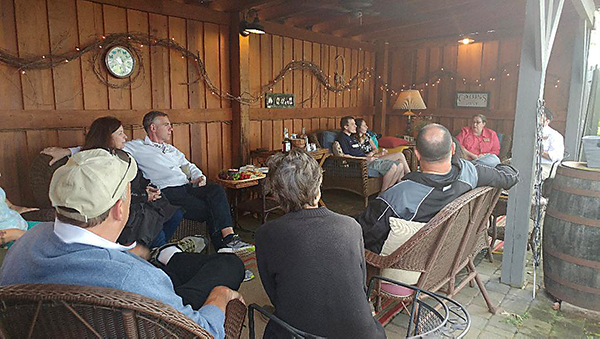 Fireside Chat under the stable.